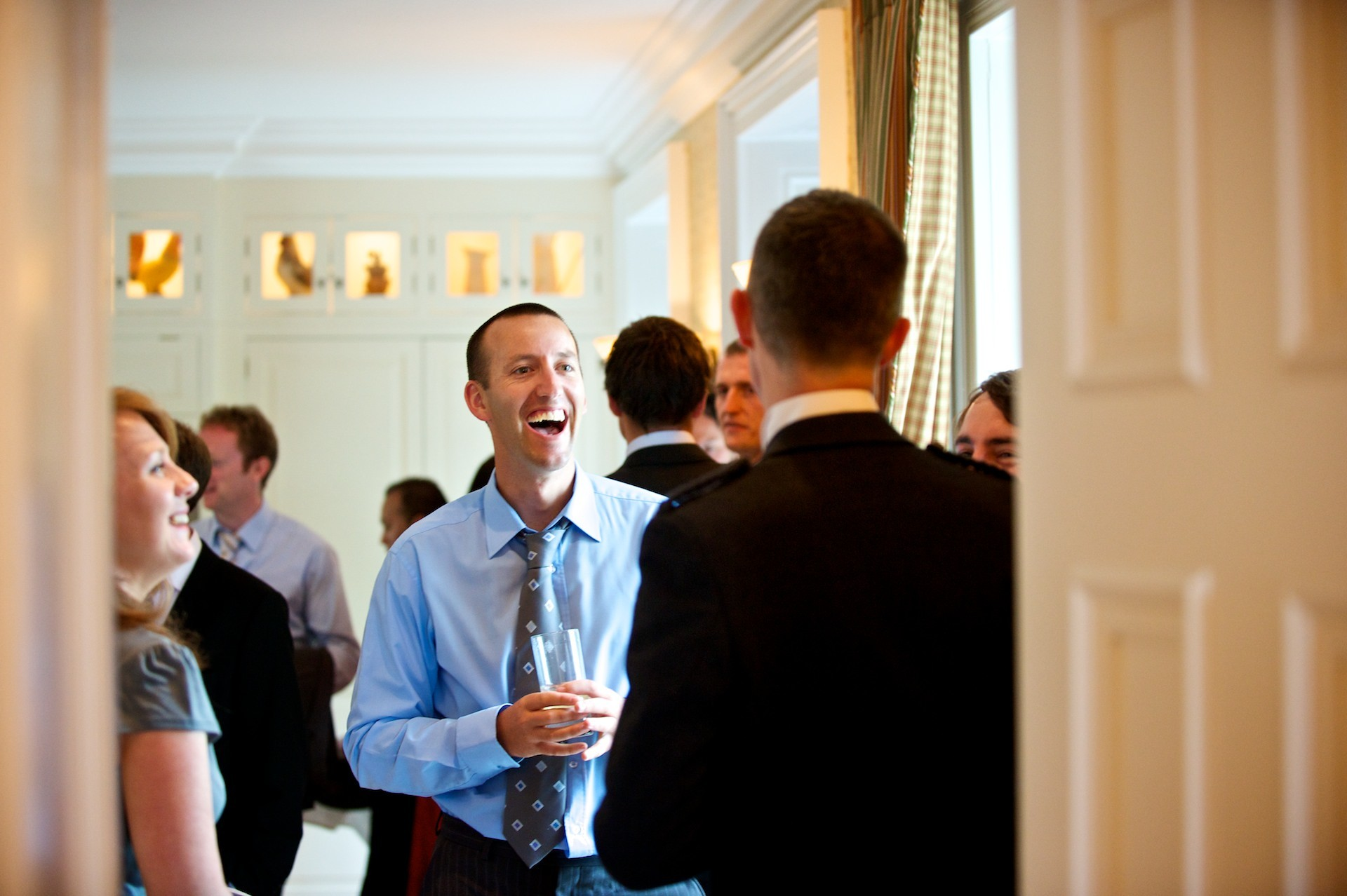 Guest laughing Ballymagarvey Village Wedding Meath