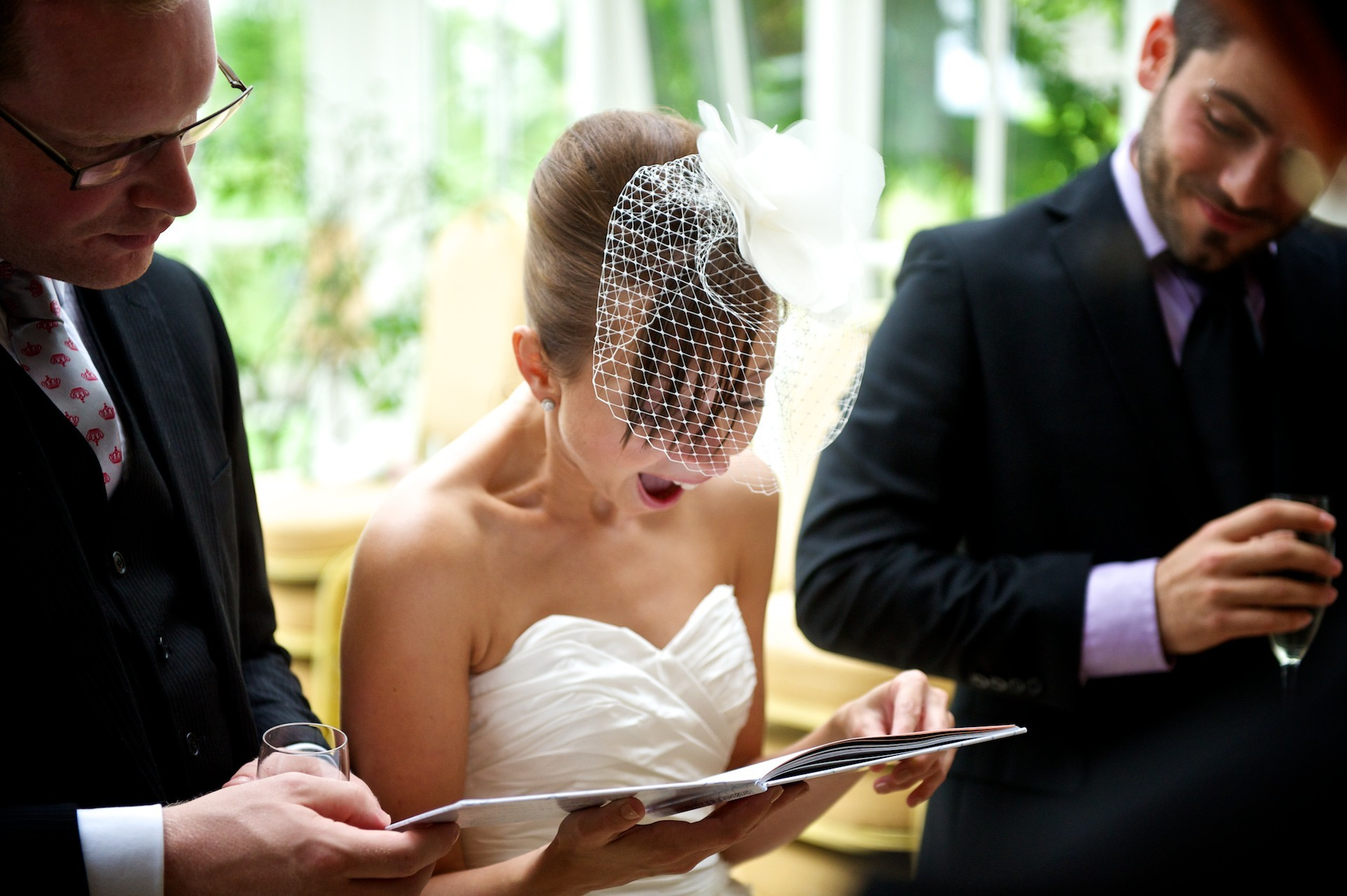 Bride reacts to present Ballymagarvey Village Wedding Meath
