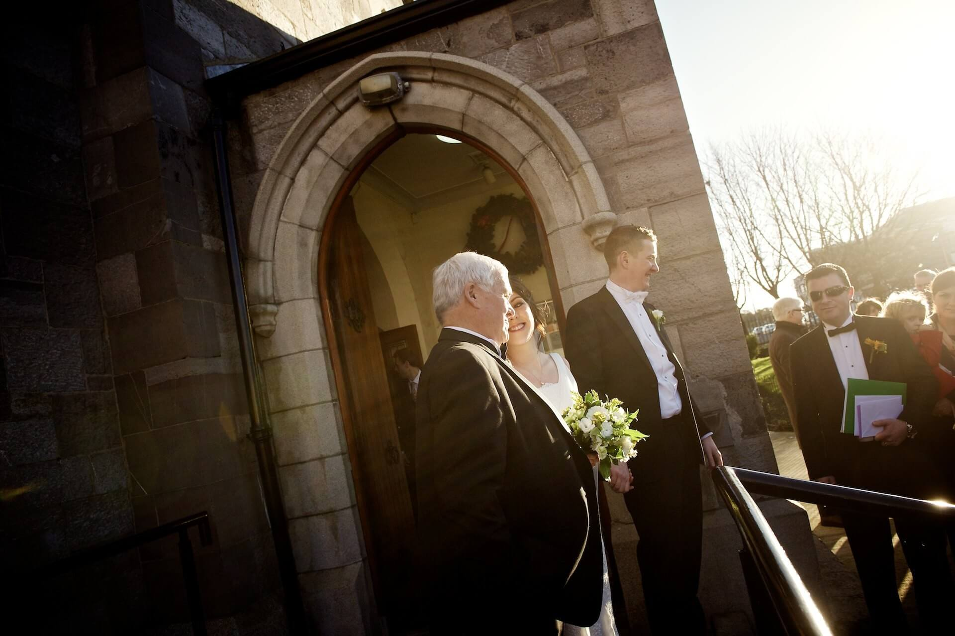 020 Wedding St Michaels Church Inchicore Outside with Bride and Dad