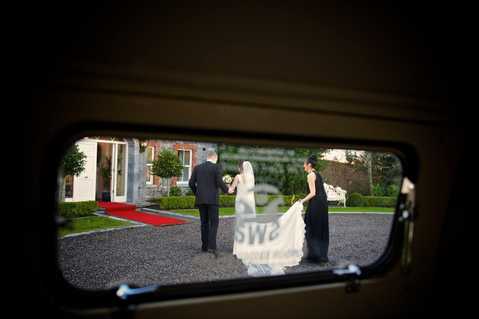 022 Wedding Meath Ballymagarvey Village Bride Groom Arrive
