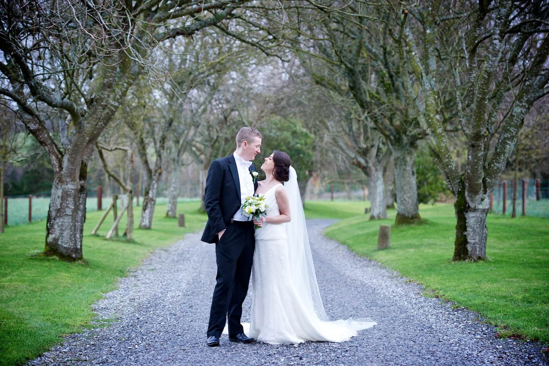 024 Wedding Meath Ballymagarvey Village Bride and Groom on Drive