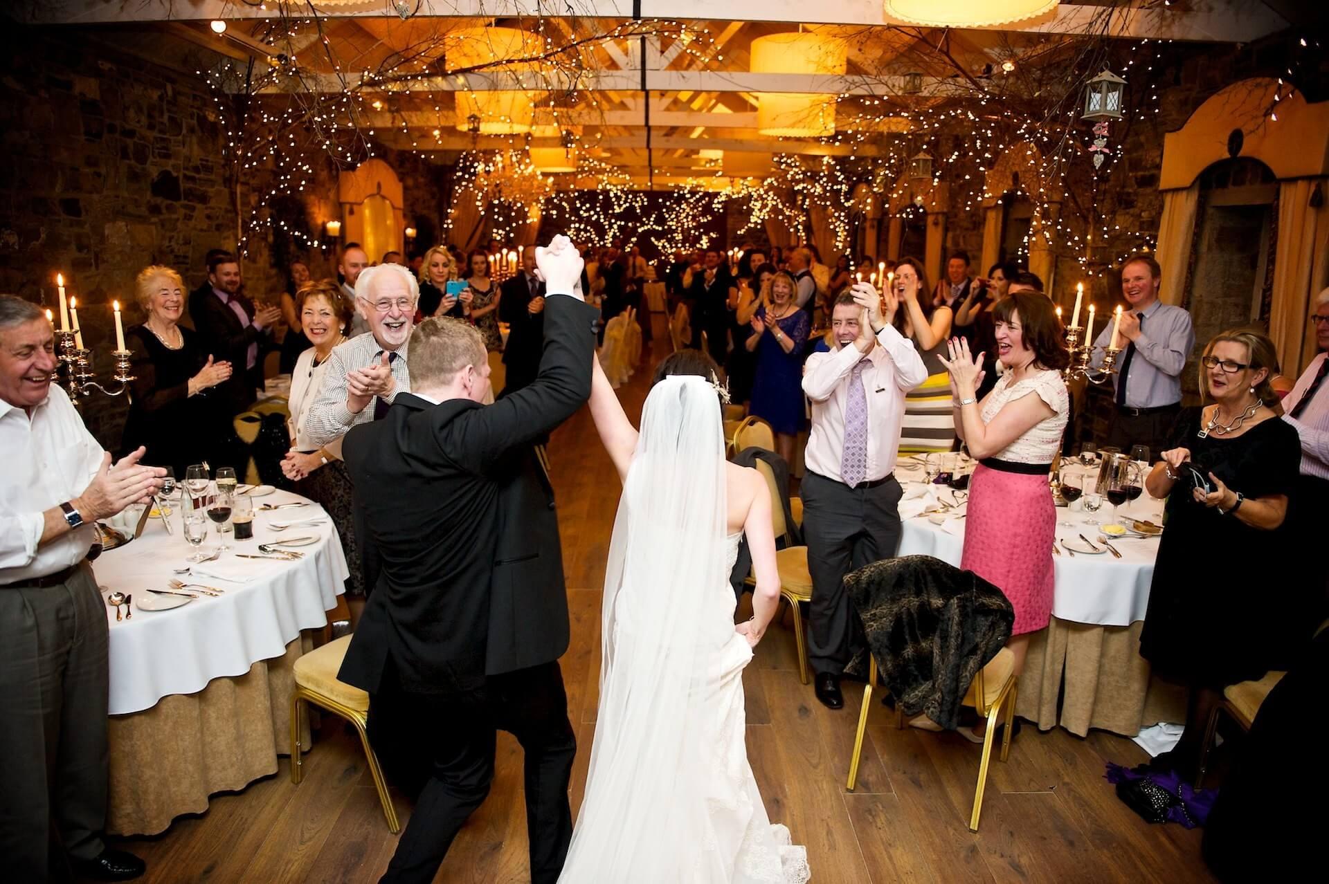 029 Wedding Meath Ballymagarvey Village Bride Groom Arrive at Reception