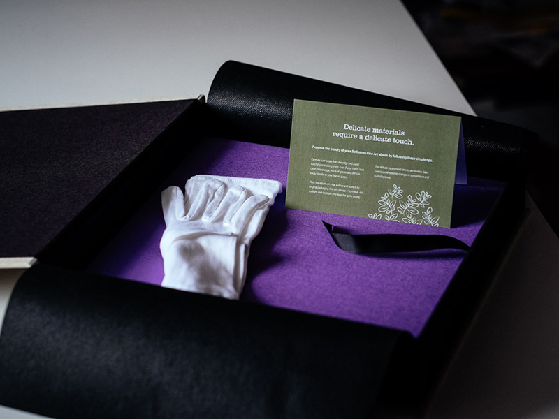 Fine Art Wedding Album, Gloves, Box