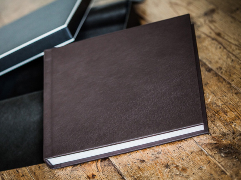 Matted Wedding Album with Brown Leather Cover