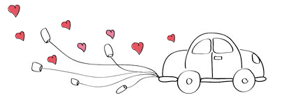 just married car doodle hand drawn